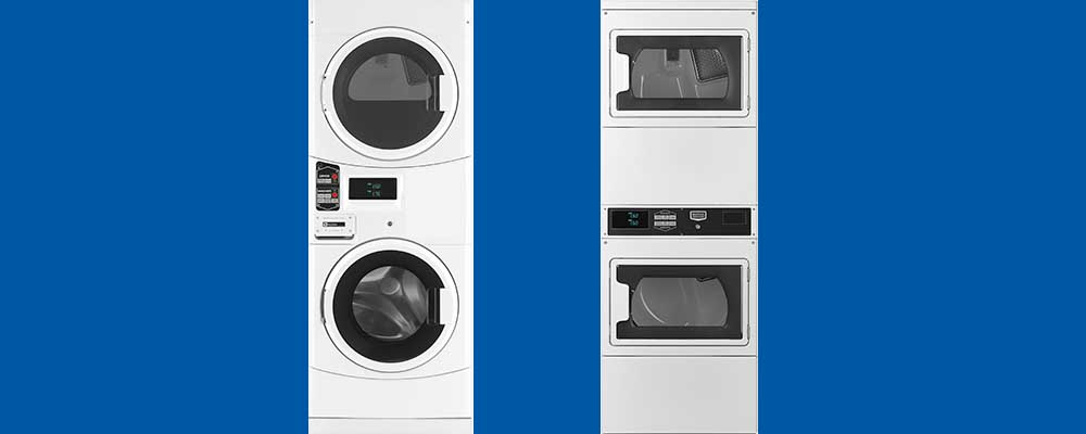 Commercial stack washers and dryers